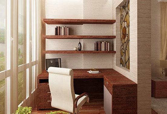 кабинет на балконе фото, рабочее место на балконе фото, балкон под кабинет